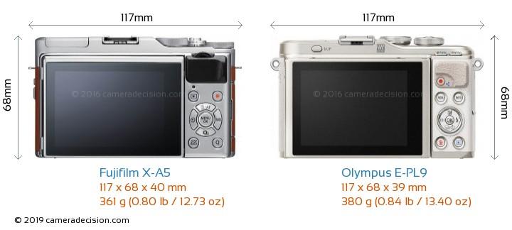 Fujifilm X-A5 vs Olympus E-PL9 Camera Size Comparison - Back View