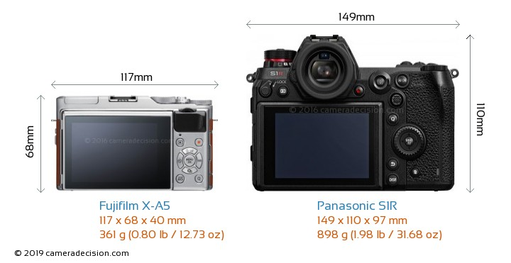 Fujifilm X-A5 vs Panasonic S1R Camera Size Comparison - Back View