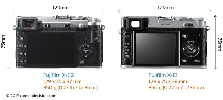 Fujifilm X-E2 vs Fujifilm X-E1 Camera Size Comparison - Back View