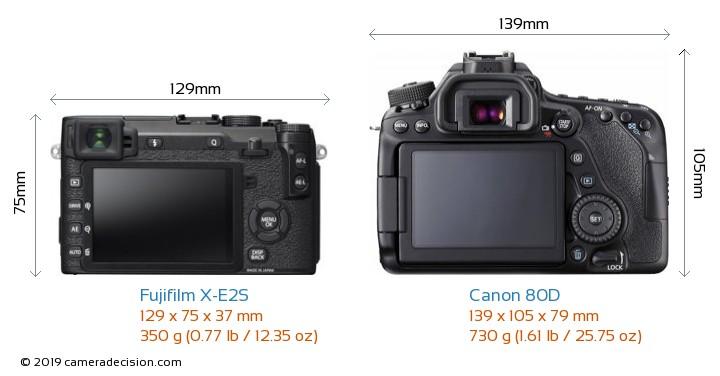 Fujifilm X-E2S vs Canon 80D Camera Size Comparison - Back View