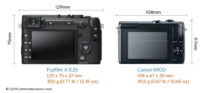 Fujifilm X-E2S vs Canon M100 Camera Size Comparison - Back View