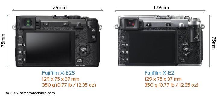 Fujifilm X-E2S vs Fujifilm X-E2 Camera Size Comparison - Back View