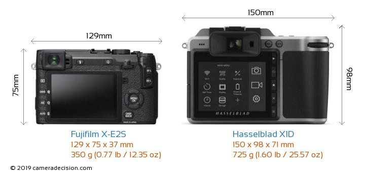 Fujifilm X-E2S vs Hasselblad X1D Camera Size Comparison - Back View