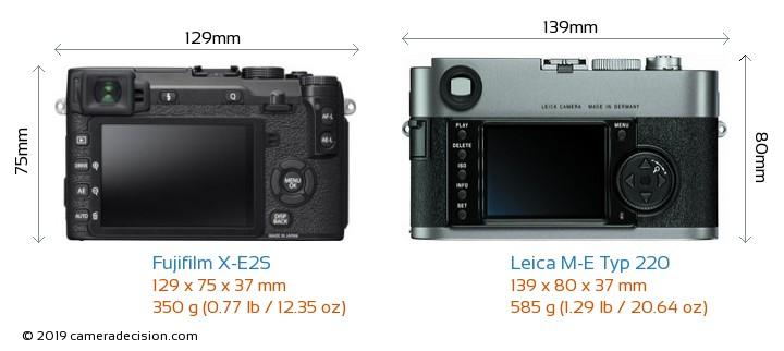 Fujifilm X-E2S vs Leica M-E Typ 220 Camera Size Comparison - Back View