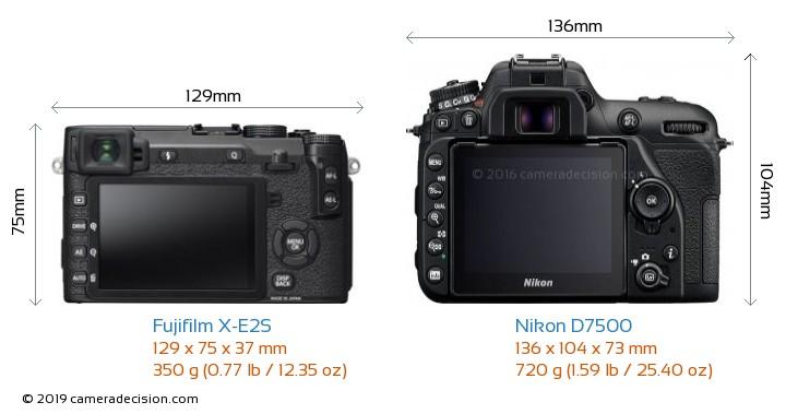 Fujifilm X-E2S vs Nikon D7500 Camera Size Comparison - Back View