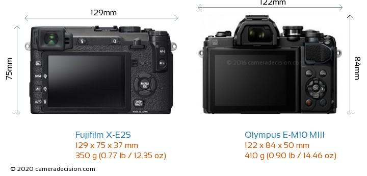 Fujifilm X-E2S vs Olympus E-M10 MIII Camera Size Comparison - Back View