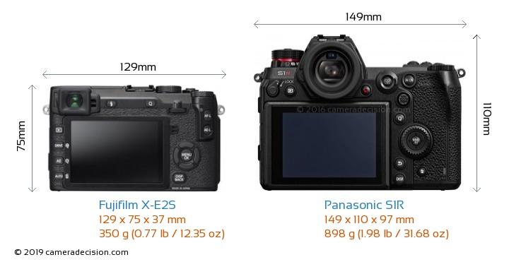 Fujifilm X-E2S vs Panasonic S1R Camera Size Comparison - Back View