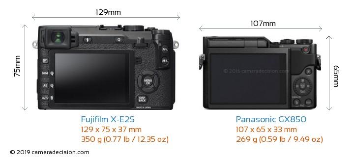 Fujifilm X-E2S vs Panasonic GX850 Camera Size Comparison - Back View