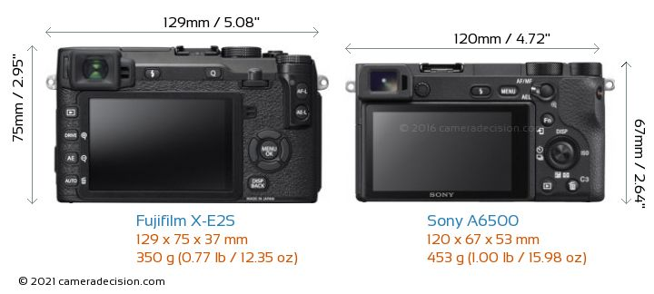 Fujifilm X-E2S vs Sony A6500 Camera Size Comparison - Back View