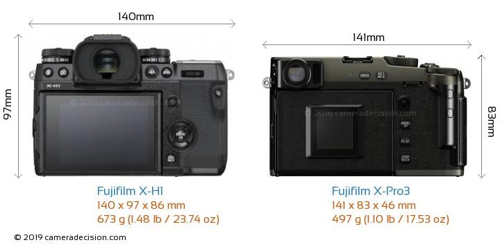 Fujifilm X-H1 vs Fujifilm X-Pro3 Camera Size Comparison - Back View