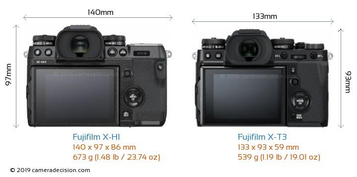 Fujifilm X-H1 vs Fujifilm X-T3 Camera Size Comparison - Back View