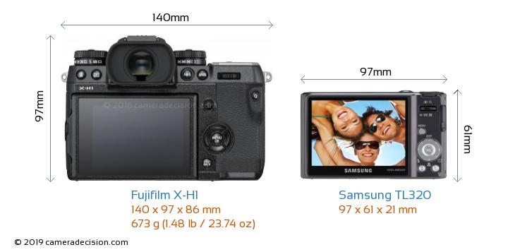 Fujifilm X-H1 vs Samsung TL320 Camera Size Comparison - Back View
