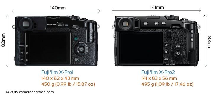 Fujifilm X-Pro1 vs Fujifilm X-Pro2 Camera Size Comparison - Back View