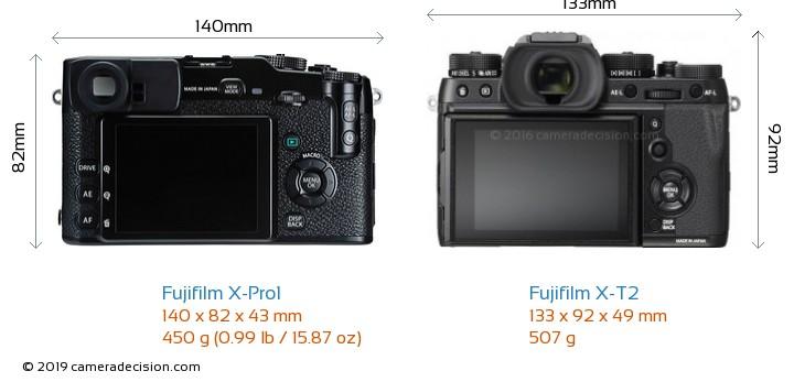 Fujifilm X-Pro1 vs Fujifilm X-T2 Camera Size Comparison - Back View