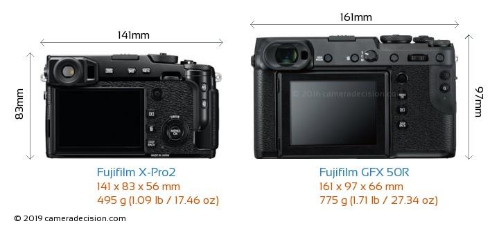 Fujifilm X-Pro2 vs Fujifilm GFX 50R Camera Size Comparison - Back View