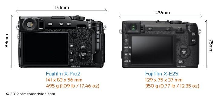 Fujifilm X-Pro2 vs Fujifilm X-E2S Camera Size Comparison - Back View