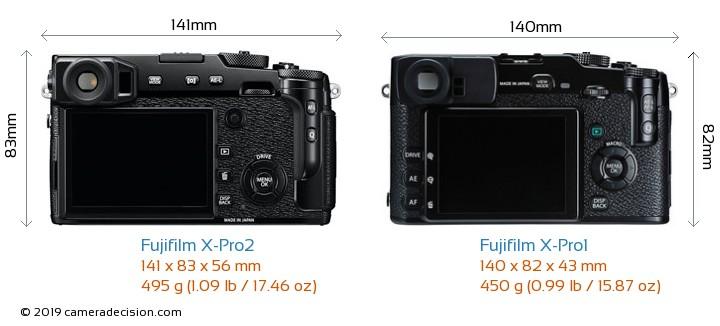 Fujifilm X-Pro2 vs Fujifilm X-Pro1 Camera Size Comparison - Back View