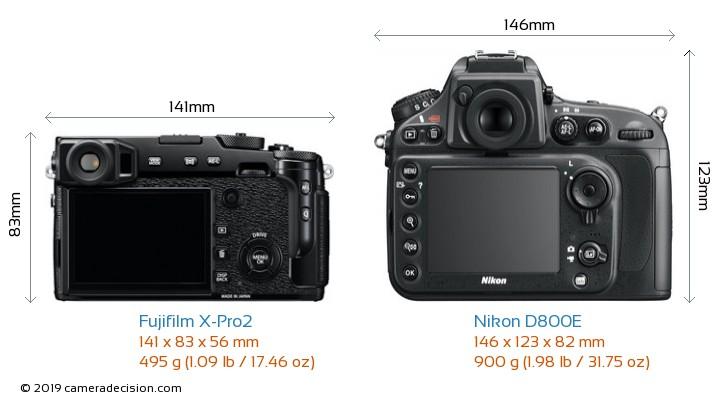 Fujifilm X-Pro2 vs Nikon D800E Camera Size Comparison - Back View