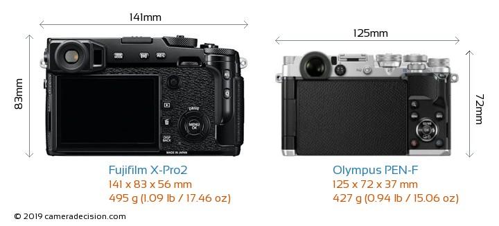 Fujifilm X-Pro2 vs Olympus PEN-F Camera Size Comparison - Back View