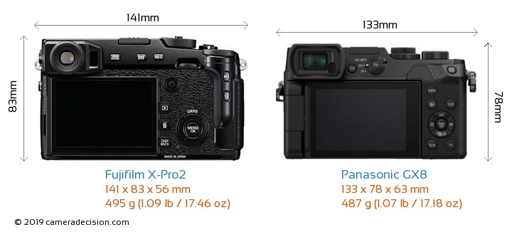 Fujifilm X-Pro2 vs Panasonic GX8 Camera Size Comparison - Back View