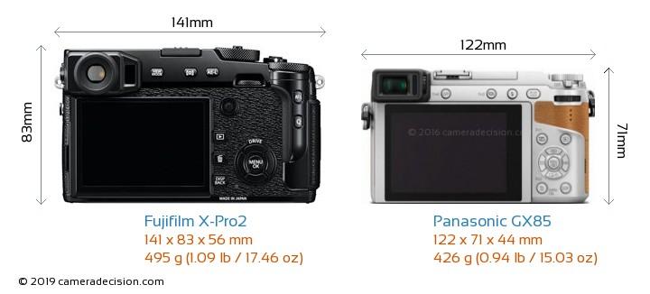 Fujifilm X-Pro2 vs Panasonic GX85 Camera Size Comparison - Back View