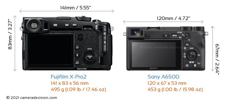 Fujifilm X-Pro2 vs Sony A6500 Camera Size Comparison - Back View