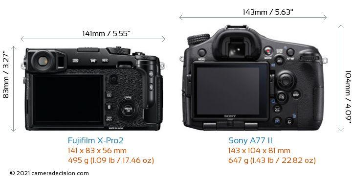 Fujifilm X-Pro2 vs Sony A77 II Camera Size Comparison - Back View