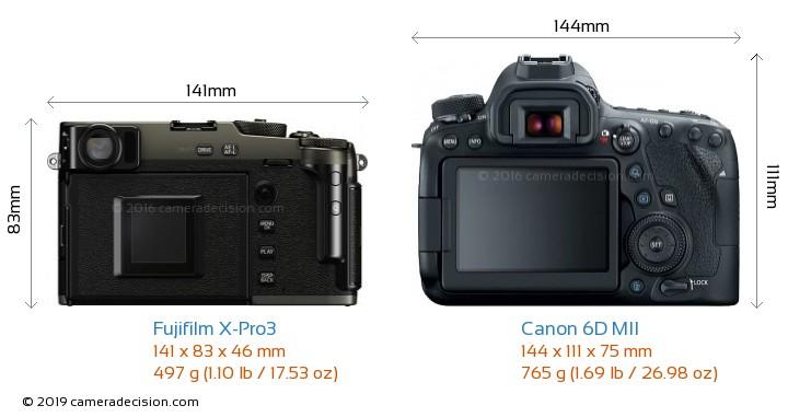 Fujifilm X-Pro3 vs Canon 6D MII Camera Size Comparison - Back View