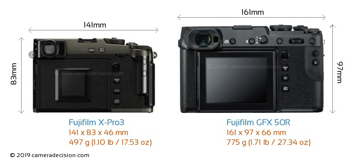 Fujifilm X-Pro3 vs Fujifilm GFX 50R Camera Size Comparison - Back View