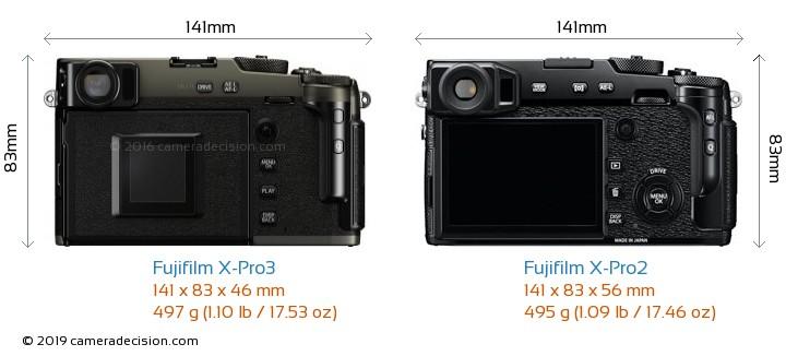 Fujifilm X-Pro3 vs Fujifilm X-Pro2 Camera Size Comparison - Back View