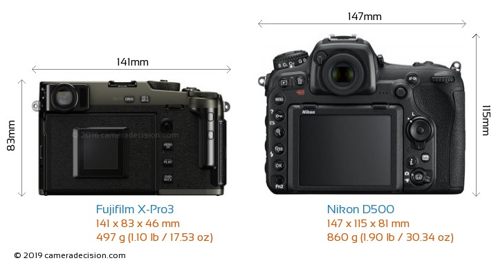 Fujifilm X-Pro3 vs Nikon D500 Camera Size Comparison - Back View