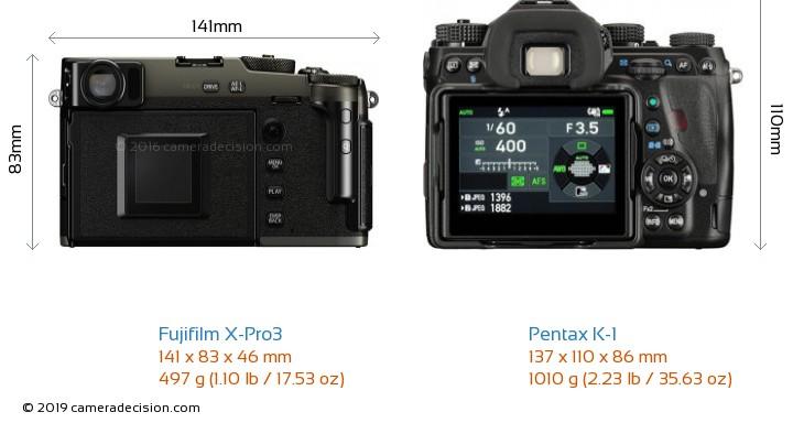 Fujifilm X-Pro3 vs Pentax K-1 Camera Size Comparison - Back View