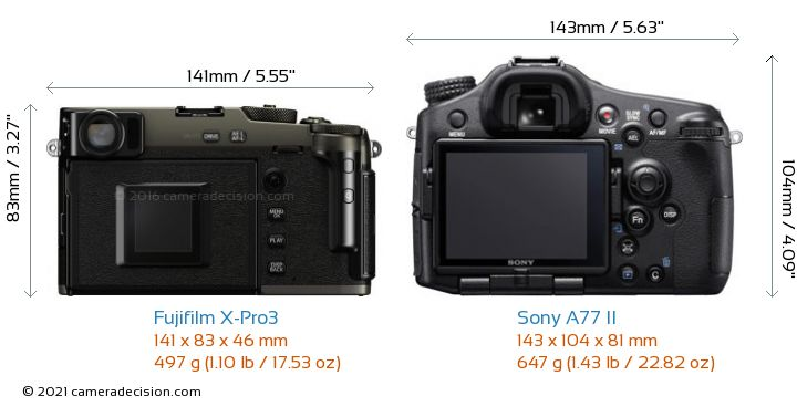 Fujifilm X-Pro3 vs Sony A77 II Camera Size Comparison - Back View