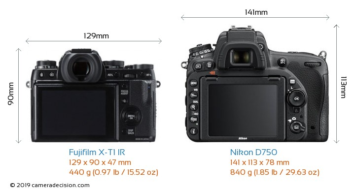 Fujifilm X-T1 IR vs Nikon D750 Camera Size Comparison - Back View