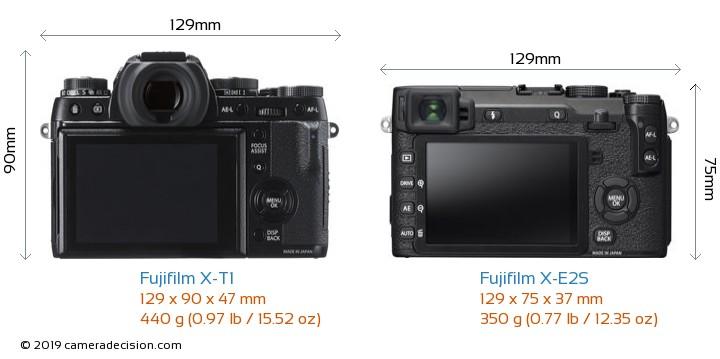 Fujifilm X-T1 vs Fujifilm X-E2S Camera Size Comparison - Back View