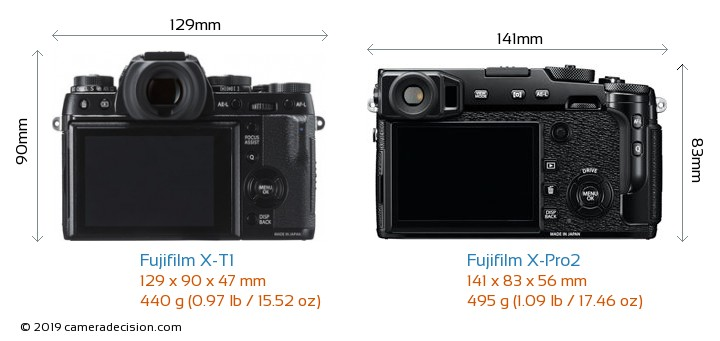 Fujifilm X-T1 vs Fujifilm X-Pro2 Camera Size Comparison - Back View