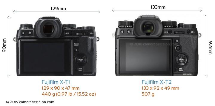 Fujifilm X-T1 vs Fujifilm X-T2 Camera Size Comparison - Back View