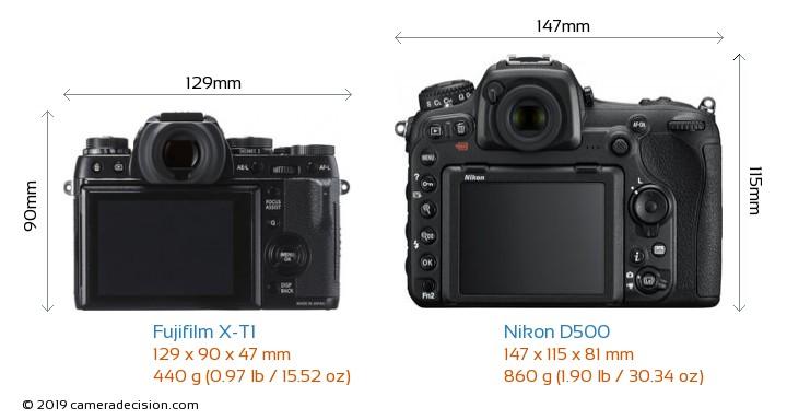 Fujifilm X-T1 vs Nikon D500 Camera Size Comparison - Back View