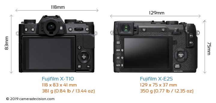 Fujifilm X-T10 vs Fujifilm X-E2S Camera Size Comparison - Back View
