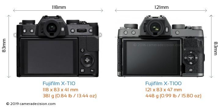 Fujifilm X-T10 vs Fujifilm X-T100 Camera Size Comparison - Back View