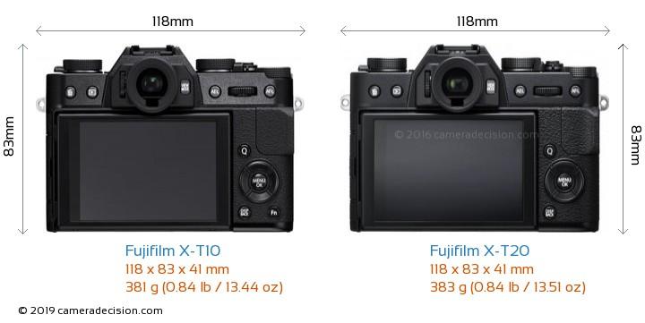 Fujifilm X-T10 vs Fujifilm X-T20 Camera Size Comparison - Back View