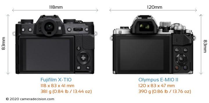 Fujifilm X-T10 vs Olympus E-M10 II Camera Size Comparison - Back View