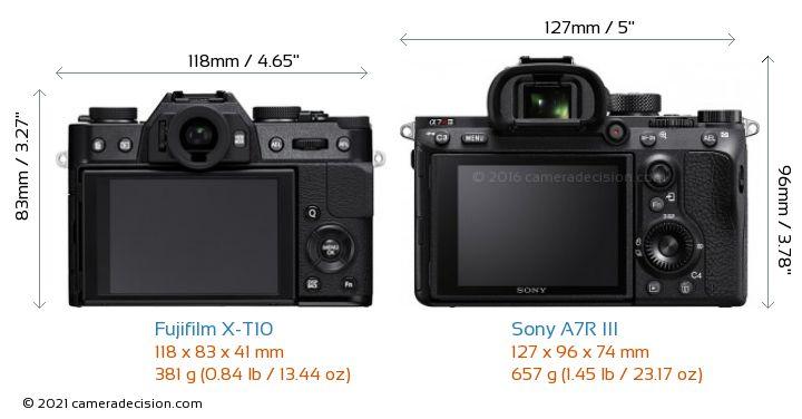 Fujifilm X-T10 vs Sony A7R III Camera Size Comparison - Back View