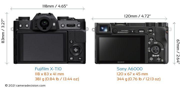 Fujifilm X-T10 vs Sony A6000 Camera Size Comparison - Back View