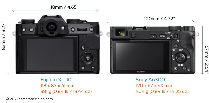 Fujifilm X-T10 vs Sony A6300 Camera Size Comparison - Back View