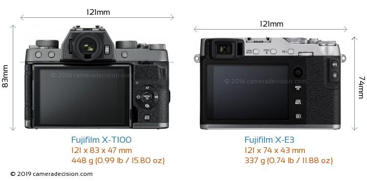 Fujifilm X-T100 vs Fujifilm X-E3 Camera Size Comparison - Back View