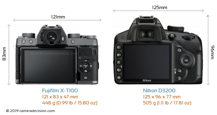 Fujifilm X-T100 vs Nikon D3200 Camera Size Comparison - Back View