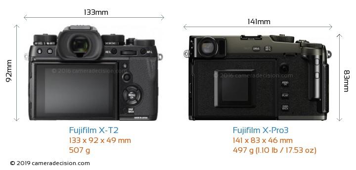 Fujifilm X-T2 vs Fujifilm X-Pro3 Camera Size Comparison - Back View