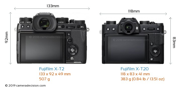Fujifilm X-T2 vs Fujifilm X-T20 Camera Size Comparison - Back View