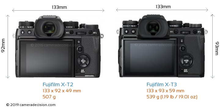 Fujifilm X-T2 vs Fujifilm X-T3 Camera Size Comparison - Back View